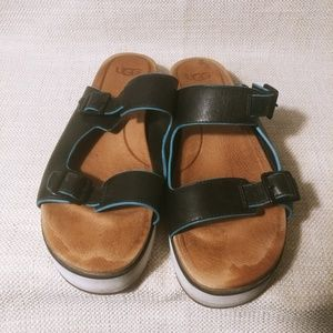 9 Ugg black and teal sandals